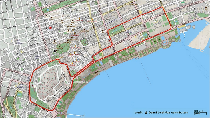 The 6 km circuit in the city of Baku