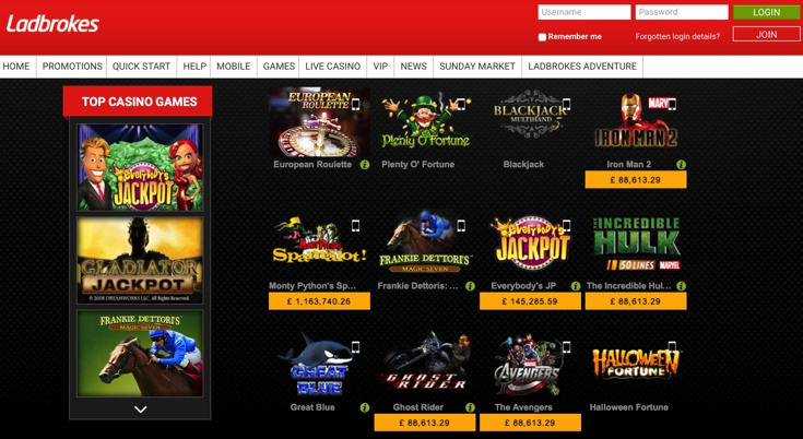 Ladbrokes Casino Games Screenshot