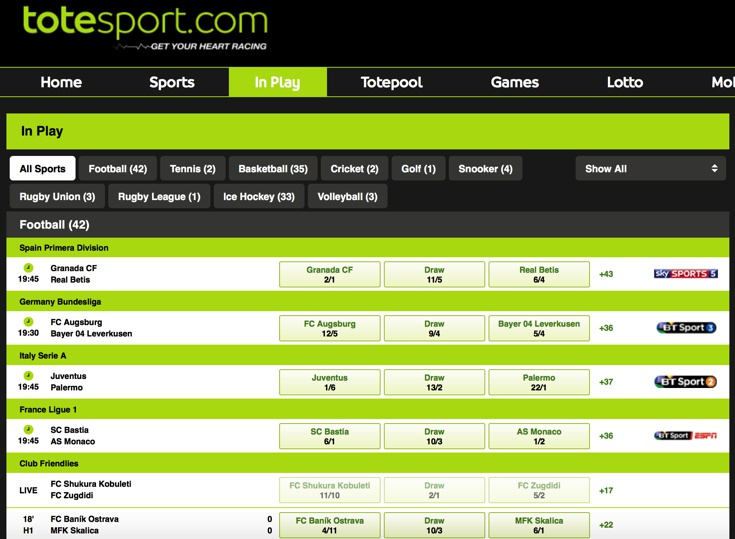 Totesport Features Screenshot